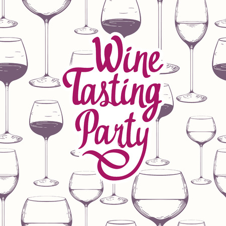 Hand-drawn sketch of wine glass on white background. Seamless glassware pattern. Black and vintage style. Tasting party.