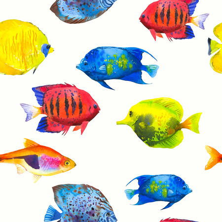 Seamless pattern with tropical fish. Watercolor illustration with hand drawn aquarium exotic fish on white background.