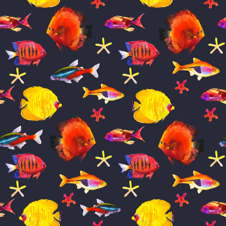 Seamless pattern with tropical fish. Watercolor illustration with hand drawn aquarium exotic fish on black background. Stock Photo