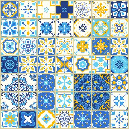 Modello senza cuciture con piastrelle portoghesi. Illustrazione vettoriale di Azulejo su sfondo bianco. Stile mediterraneo. Design blu e giallo. Archivio Fotografico - 97616532