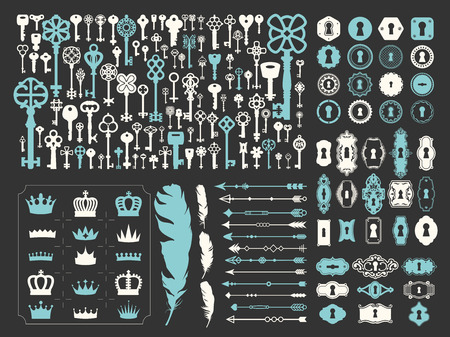 Vector illustration with design illustrations for decoration. Big silhouettes set of keys, locks, crown, illustrations, arrows, feathers on black background. Vintage style.