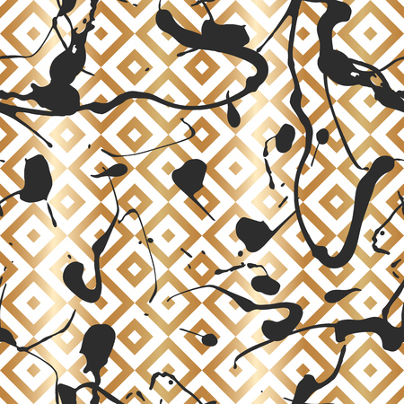 Seamless pattern with creative geometric texture. Vector illustration of spray paint on white background. Ink smudges. Gold and black colors. Stock Vector - 97616499