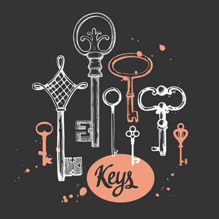 Vector set of hand-drawn antique keys. Illustration in sketch style on black background. Old design 向量圖像