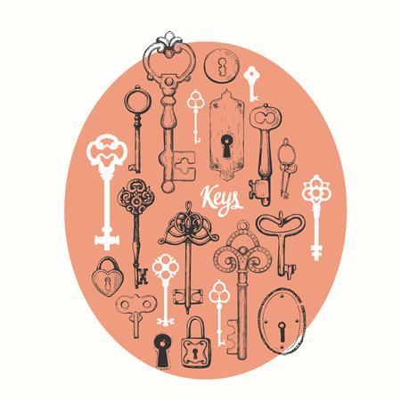 Vector conjunto de llaves antiguas dibujadas a mano ilustración en estilo de dibujo sobre fondo blanco. diseño antiguo Foto de archivo - 98124911