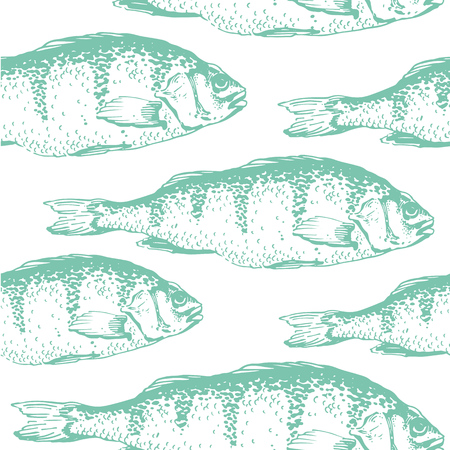 Vector illustration with sketches of fish. Hand-drawn seamless background blue color. Carp Illustration