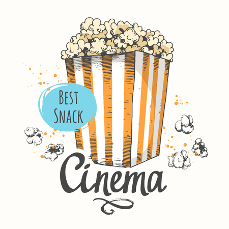 Vector illustration with sketch popcorn bucket. Cinema snack. Hand drawn fast food. Movie Time poster. Stock Vector - 98085809