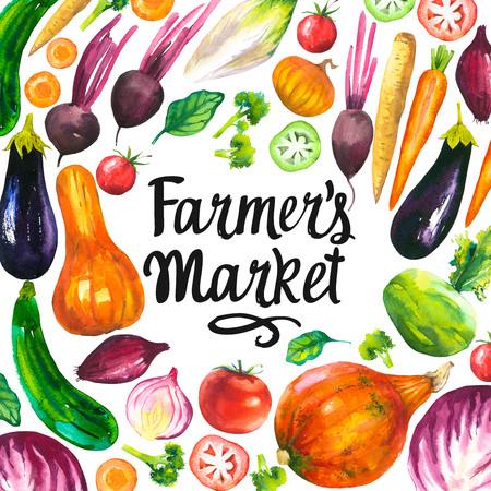 Watercolor illustration with round composition of farm illustrations. Vegetables set: eggplant, pumpkin, zucchini, onion, tomato, broccoli, beets, carrots, cabbage kohlrabi. Fresh organic food. Zdjęcie Seryjne