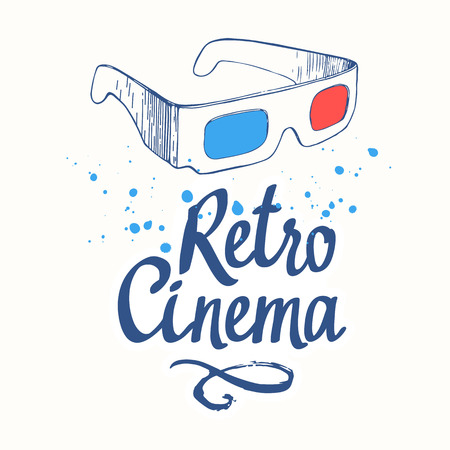 Retro cinema. Movie time vector illustration with sketch 3D glasses and brush calligraphy illustrations on white backgrouns. 向量圖像