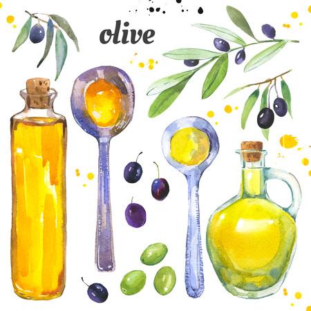 Oliven und eine Flasche Olivenöl. Aquarellillustration mit Mittelmeertraditionslebensmittel in der Maltechnik. Standard-Bild