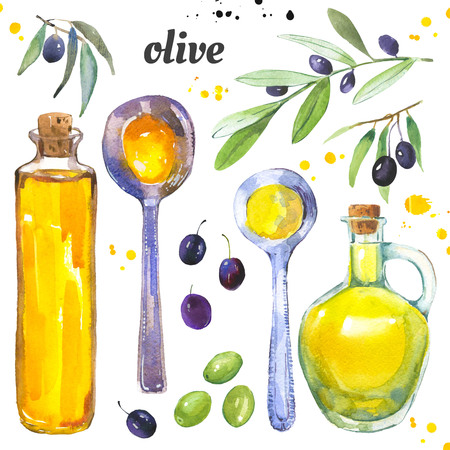 Oliven und eine Flasche Olivenöl. Aquarellillustration mit Mittelmeertraditionslebensmittel in der Maltechnik. Standard-Bild - 98187732