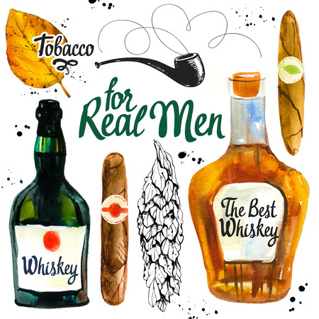 Watercolor and sketch illustration with classical illustrationking and drink set. Bunch of tobacco, hand rolled cigars, whiskey, pipe, leaf in hand drawn style. Best cuban quality.