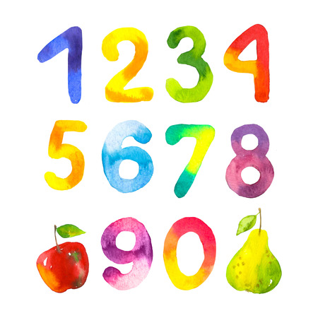 Funny numbers from 0 to 9. Hand drawn by children figures on white background. Watercolor style. Фото со стока