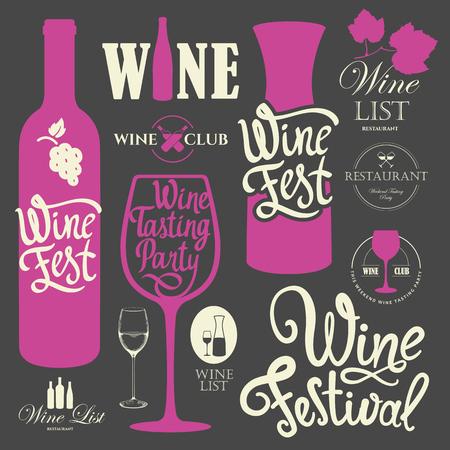 Vector illustration with labels, bottle, glass sketch style. Alcoholic beverages set. Wine festival. Brush calligraphy illustrations for your design. Handwritten ink lettering. Stock Illustratie