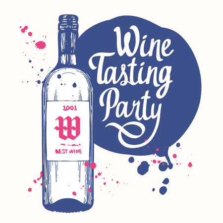 Vector illustration with bottle in sketch style for wine list. Poster alcoholic beverages. Brush calligraphy illustrations your design. Handwritten ink lettering.