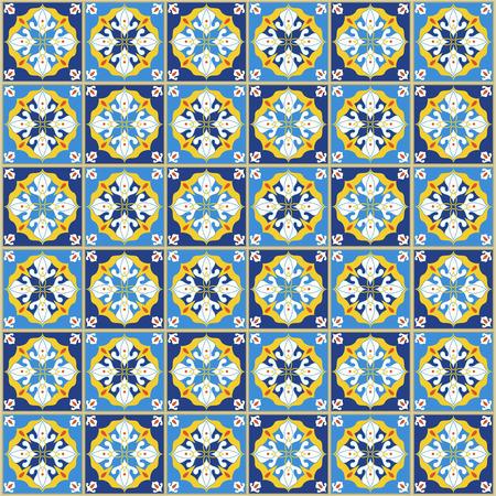 ポルトガルのタイルとのシームレスなパターン。白い背景にアズレホのベクトル図。地中海スタイル。青と黄色のデザイン。  イラスト・ベクター素材