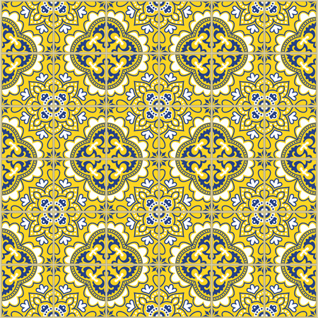 Seamless pattern with portuguese tiles. Vector illustration of Azulejo on white background. Mediterranean style. Blue and yellow design.