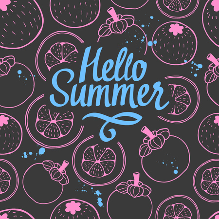 Seamless nature pattern with sketch of berries. Pink and black vector background with mangosteen. Tropical food. Hello summer.