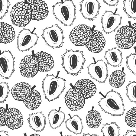 Seamless nature pattern with sketch of fruit. Black and white vector background with lychee. Tropical food.