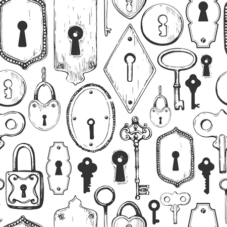 Seamless pattern. Vector set of hand-drawn antique keys, keyholes and locks. Illustration in sketch style on white background. Old design. Foto de archivo - 98115356