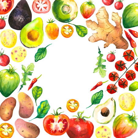 Watercolor illustration with round composition of farm vegetables. Set of different vegetables: tomato, potato, avocado, ginger, pepper, turnips, arugula, spinach. Fresh organic food. Stock Photo