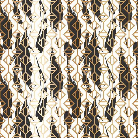 Seamless pattern with creative geometric texture. Vector illustration of spray paint on white background. Ink smudges. Gold and black colors. Stock Vector - 98133609