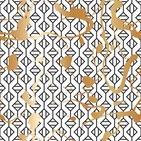 Seamless pattern with creative geometric texture. Vector illustration of spray paint on white background. Ink smudges. Gold and black colors. Stock Vector - 98133611