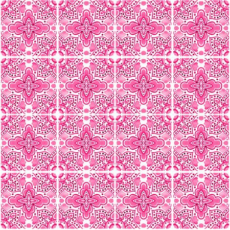 포르투갈어 타일과 원활한 패턴입니다. 흰색 배경에 Azulejo의 수채화 그림입니다. 핑크색. 스톡 콘텐츠 - 98187751