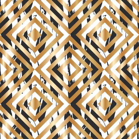 Seamless pattern with creative geometric texture. Vector illustration of spray paint on white background. Ink smudges. Gold and black colors. Stock Vector - 98133615