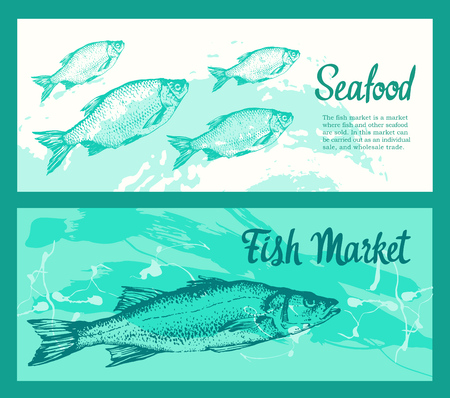 Set of layout banners with sketches of fish. Hand drawn vector illustration for food market. Seafood poster menu.