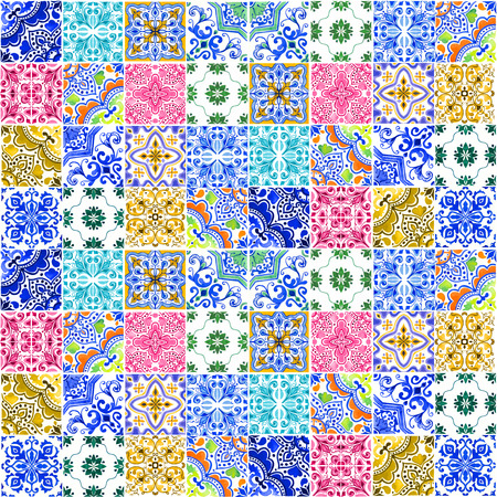 Seamless pattern with with Portuguese tiles. Watercolor illustration of Azulejo on white background. Multicolor design. 스톡 콘텐츠 - 98187754