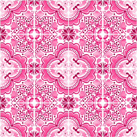 Seamless pattern with with Portuguese tiles. Watercolor illustration of Azulejo on white background. Pink color. 스톡 콘텐츠