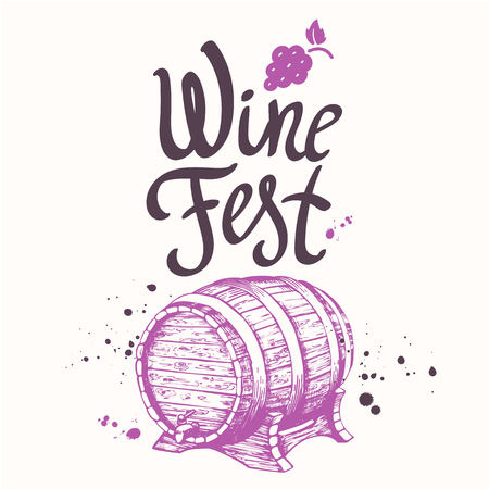 Vector illustration with wooden barrel of wine in sketch style. Winery. Alcoholic beverages poster. Festival. Brush calligraphy illustrations for your design. Handwritten ink lettering. Ilustração