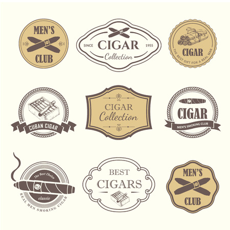 Vector Illustration with logo and labels. Simple symbols tobacco, cigar. Traditions of smoke. Decorative illustrations, icon for your design. Gentleman style. Vettoriali