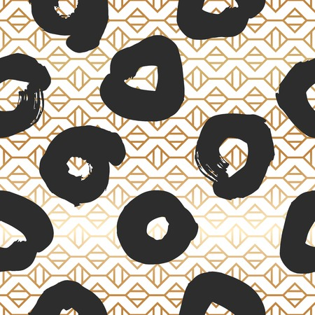 Seamless pattern with creative geometric gold texture. Vector illustration of black smudges on white background. Illustration