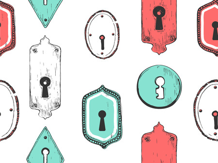 Seamless pattern. Vector set of hand-drawn antique keyholes. Illustration in sketch style on white background. Old design. Illustration