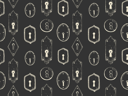 Seamless pattern. Vector set of hand-drawn antique keyholes. Illustration in sketch style on white background. Old design. 向量圖像
