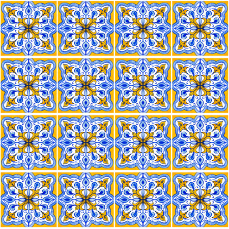 Seamless pattern with with Portuguese tiles. Watercolor illustration of Azulejo on white background. Blue and yellow colors.