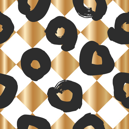 Seamless pattern with creative brush gold texture. Vector illustration of black smudges on white background. Stock Vector - 98120350