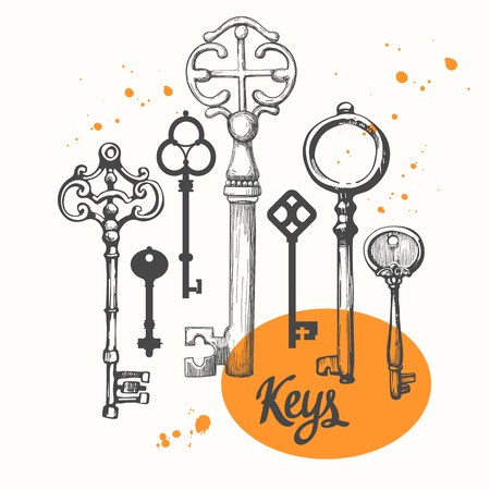 A Vector set of hand-drawn antique keys. Illustration in sketch style on white background.