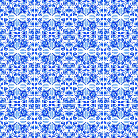 Seamless pattern with with Portuguese tiles. Watercolor illustration of Azulejo on white background. Blue design. Stock Photo