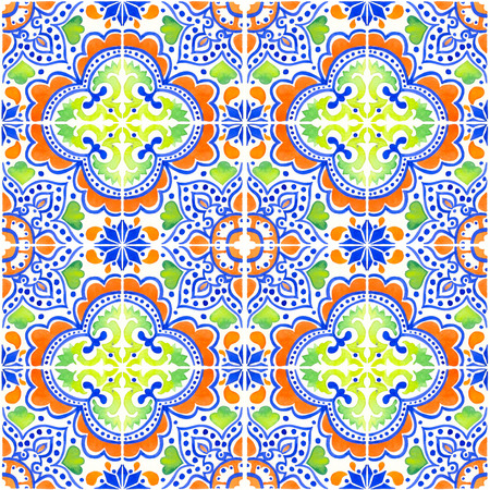 Seamless pattern with with Portuguese tiles. Watercolor illustration of Azulejo on white background. Multicolor design.