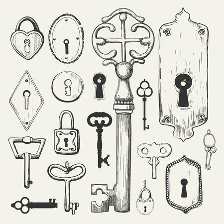 Vector set of hand-drawn antique keys. Illustration in sketch style on white background. Old design Foto de archivo - 98675912