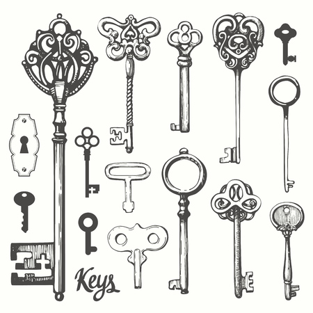 Vector set of hand-drawn antique keys. Illustration in sketch style on white background. Old design Imagens - 98675916