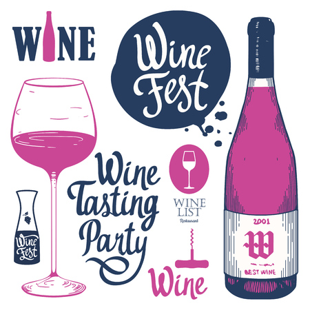 Vector illustration with labels, bottle, glass in sketch style. Alcoholic beverages set. Wine festival. Brush calligraphy illustrations for your design. Handwritten ink lettering.