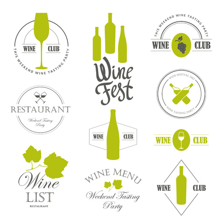 Vector Illustration with wine list logo and labels. Simple symbols glass, bottle for restaurant or winery. Traditions of drink. Decorative design illustrations. Black white style.