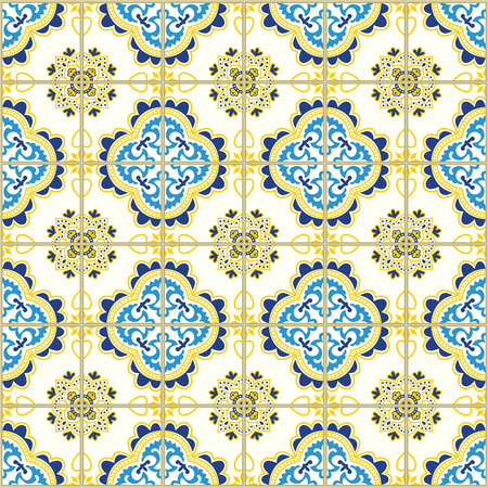 A Seamless pattern with portuguese tiles. Vector illustration of Azulejo on white background. Mediterranean style. Blue and yellow design.