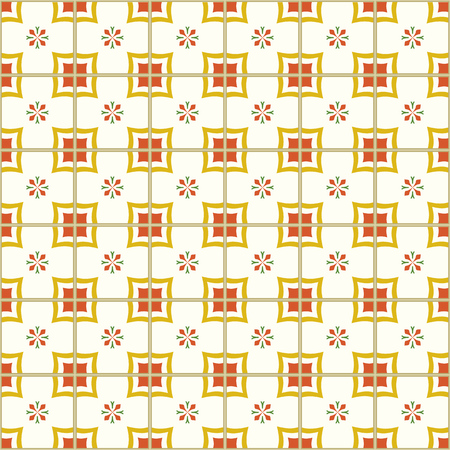 ポルトガルのタイルベクターイラストとシームレスなパターン。
