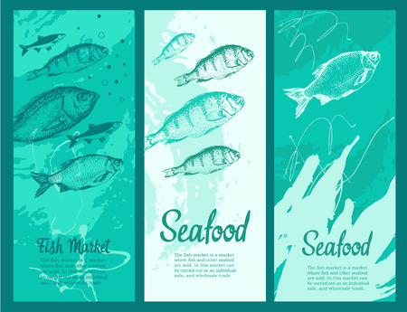 Set of layout banners with sketches of fish. Hand drawn vector illustration for food market.