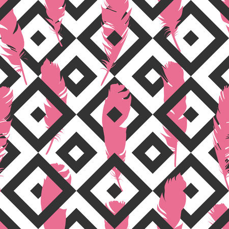 Seamless pink illustration with feathers on a black geometric background. Natural vector pattern. Boho style. Simple silhouettes.