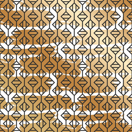 Seamless pattern with creative geometric texture. Vector illustration of spray paint on white background. Ink smudges. Gold and black colors.